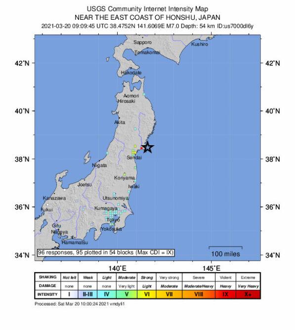 Trzęsienie ziemi u wybrzeży Japonii (USGS)
