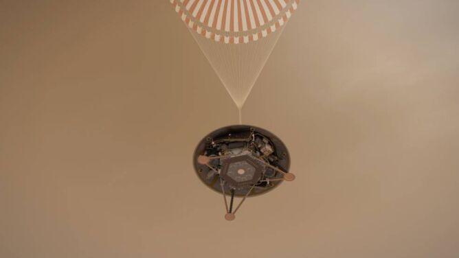 Artystyczna wizja lądowania sondy InSight na Marsie (NASA)